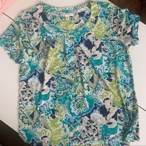 Spring floral spandex/polyester women's top